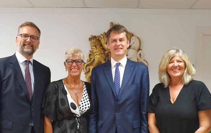 (left to right): Lloyd Milen, British Consul General; Sue Wilson, Bremain in Spain; HMA Hugh Elliott; Debbi Wilson, Brexpats – Hear our Voice