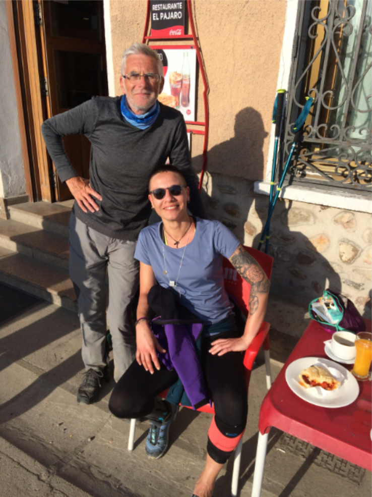 Breakfast in Villafranca Montes De Oca with Bruna, the cool Italian woman who was struggling to walk