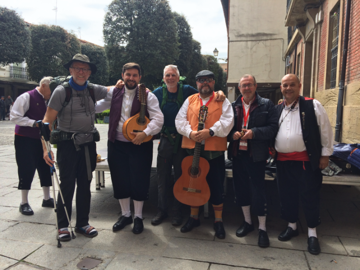 With the local musicians, who gave us an impromptu performance in the centre of Santa Domingo de la Calzada