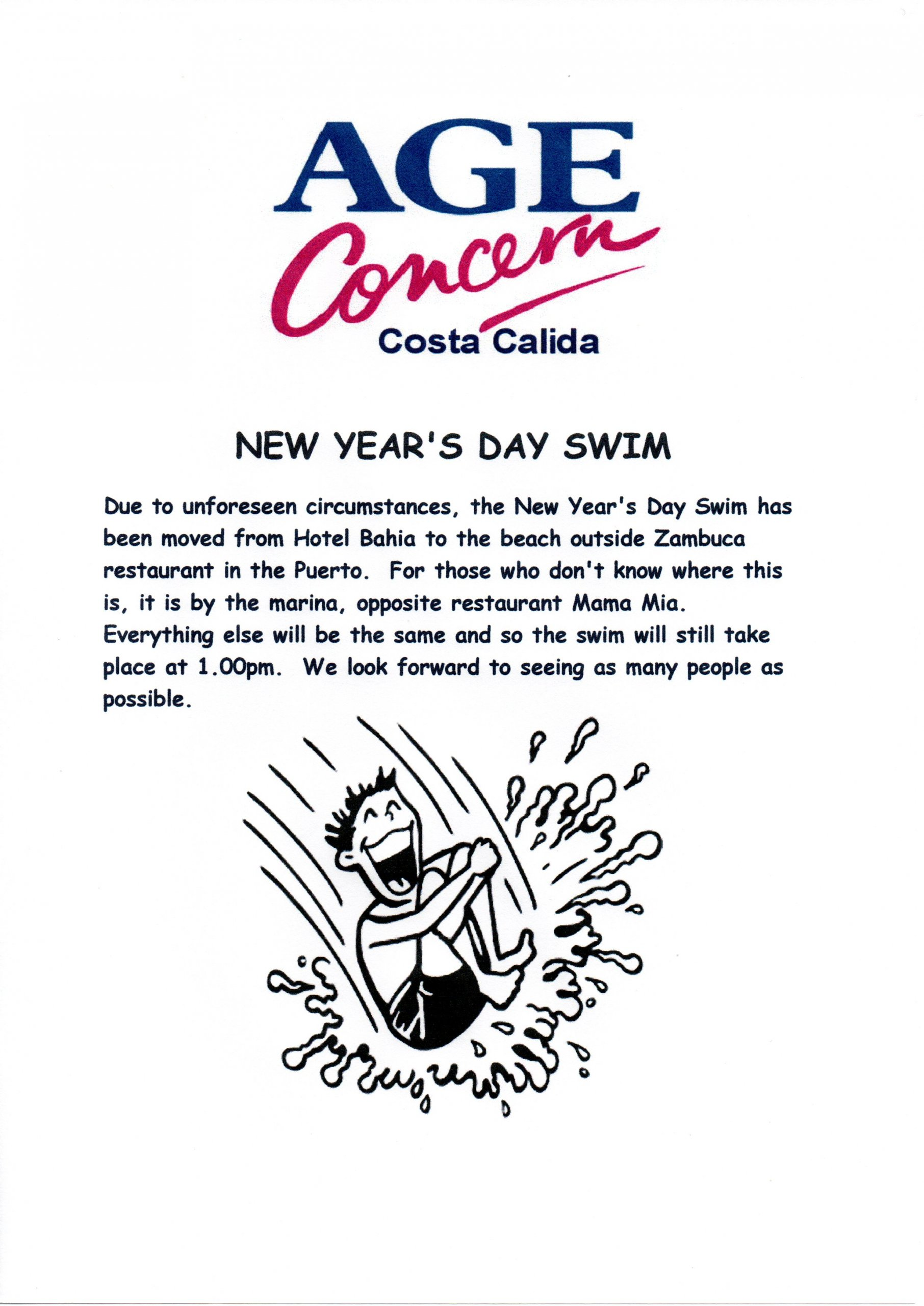 PLEASE NOTE CHANGE OF VENUE FOR AGE CONCERN NEW YEAR'S DAY SWIM!