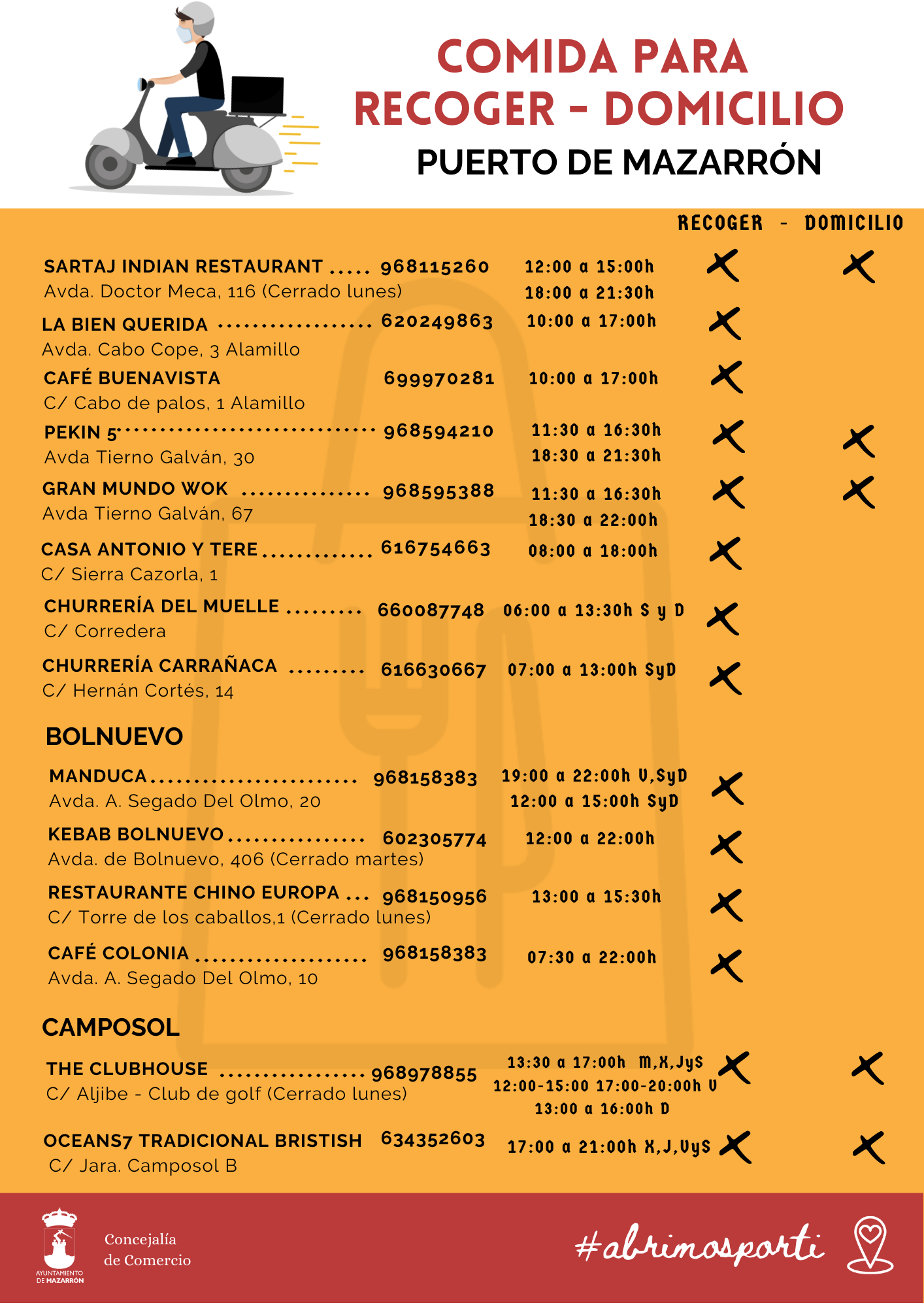 Takeaway/Delivery Services in Mazarrón Municipality