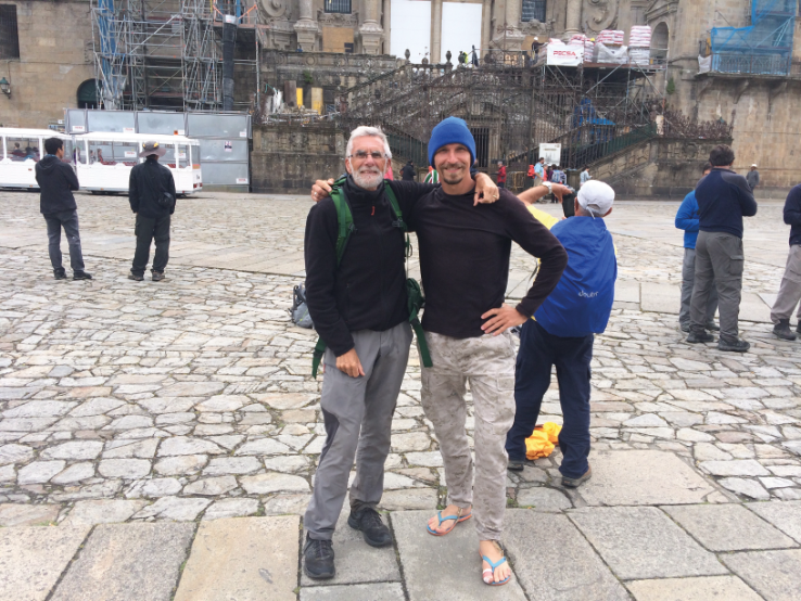 In front of the cathedral with myCamino hero Kazim