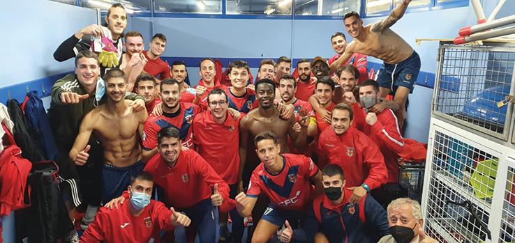 Celebrating victory over CD Minera