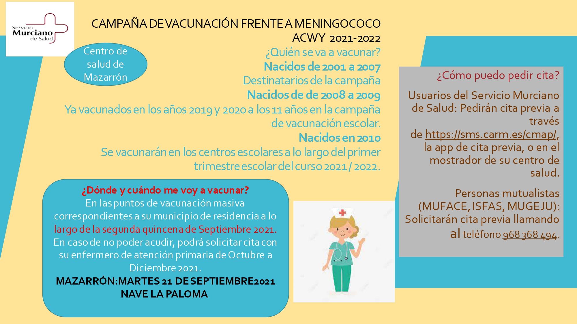 Vaccination calendar of the Region of Murcia