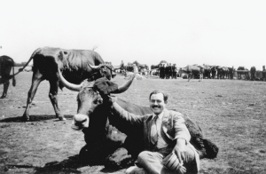 Ernest Hemingway in Spain, 1927 (with a bull)